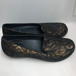 Dansko Loafer-Flat- Black & Gold Faux Reptile